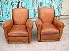 French Leather Club Chairs Vintage Caramel Rollback