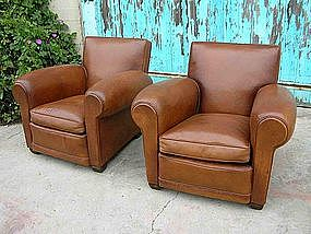 French Leather Club Chairs Refurbished Squareback Pair