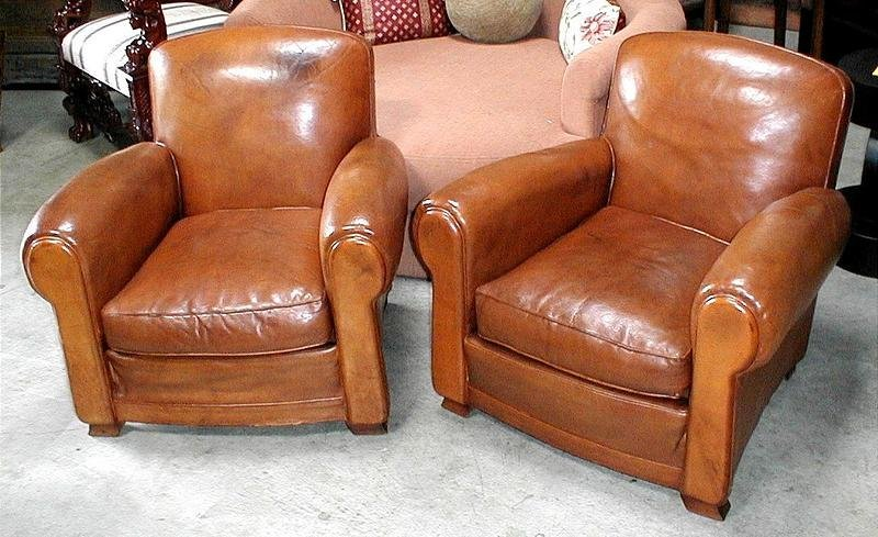 - French Leather Club Chairs - Vintage Humpback Pair (item #365526)
