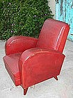 Vintage French Leather Club Chair - Red Deco Orphan