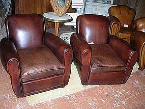 French Leather Club Chairs Refurbished Rollback Pair