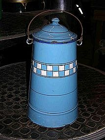 Vintage French Enamelware Milk Pail Blue White Check