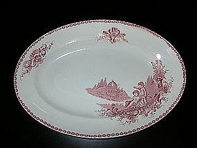 Vintage French Red Transferware Oval Platter Angels