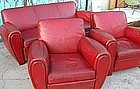 Vintage French Red Club Chairs with Couch Salon Set