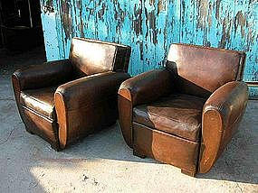 Vintage French Leather Club Chairs - Double Square Pair