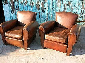 Vintage French Leather Club Chairs Ghislan Moustache
