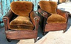 Vintage French Leather Club Chairs Serpette Nailed Pair