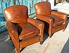 Vintage French Leather Club Chairs - Crevecoeur Pair