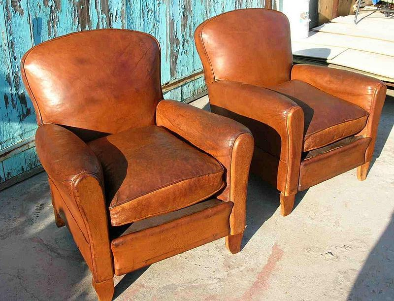 Vintage French Leather Club Chairs - Crevecoeur Pair (item #439888) - Antique Leather Club Chairs Antique Furniture