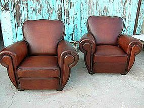 Refurbished French Leather Club Chairs - Le Mans Clover