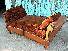 Vintage French Leather Club Chair Day Bed
