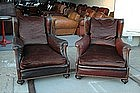 Vintage French Club Chairs Bernet Nailed Wingback Pair