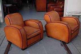 French Club Chairs Erton Caramel Deco Rollback Pair