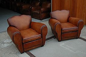 French Leather Club Chairs Lyon Dark Moustache Pair