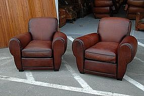 French Club Chairs Restored French Roast Rollback Pair