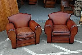 French Club Chairs Restored Dark Cafe Moustache Pair