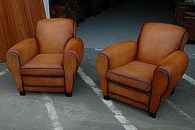 French Club Chairs Restored Firm Caramel Rollback Pair