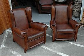 French Club Chairs Mystery Wingback Pair
