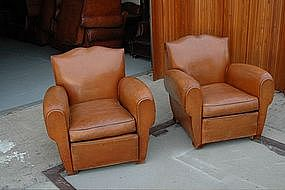 Vintage French Club Chairs Pont L'Eveque Moustache Pair