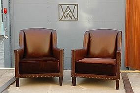 French Leather Club Chairs Petite Chanel Pair
