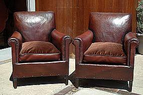 Vintage French Club Chairs - Trocadero Squareback Pair