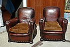 Vintage French Club Chairs - Versailles Nailed Pair