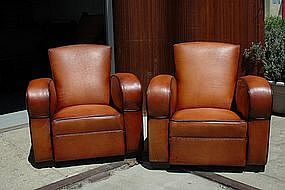 French Club Chairs - Restored Streamline Flare Pair