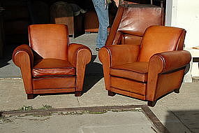 French Leather Club Chairs Place des Vosges Caramel