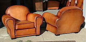 French Leather Club Chairs Nantes Grand Roundback Pair