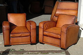 French Leather Club Chairs Deco Square Lounge Pair