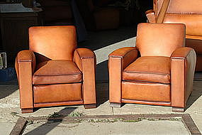 French Club Chairs Squareback Library Pair