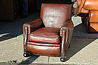 Vintage French Club Chair Nailed Dark Caramel Single