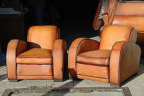 French Leather Club Chairs Erton Le Mans Pair
