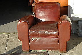 Vintage French Club Chair Single Mahogany Rollback
