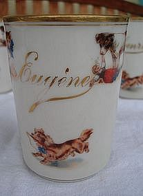 Antique French Porcelain Child's Baby Cup Eugene Mehun
