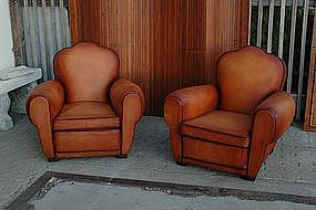 French Leather Club Chairs Treffle Brule Classic