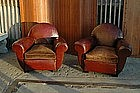 Vintage French Club Chairs Mahogany Cinema Round Pair