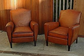 Vintage French Club Chairs Petite Moustache Pair