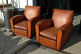 Vintage French Club Chairs Martini Square Pair