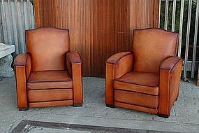 French Leather Club Chairs Cognac Gendarme Pair