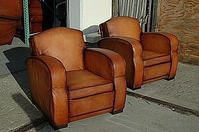 French Leather Club Chairs Metz Streamline Pair
