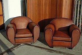 French Leather Club Chairs Giant Deco Cinema Pair