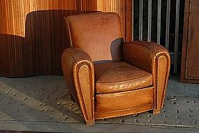 Vintage French Club Chair Reims Slopeback Single