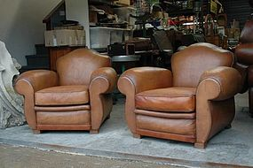 Vintage French Club Chairs - St. Ouen Treffle Pair