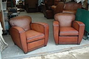 Vintage French Leather Club Chairs - d'Orsay Flare Pair