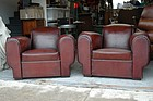 Vintage French Leather Club Chairs - The Corsican Pair