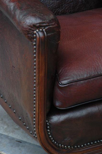 Vintage French Leather Club Chair Clovis Gothic Single