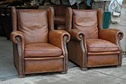Vintage French Club Chairs - Excelsior Wingback Pair