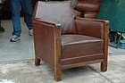 Vintage French Leather Club Chair Arts & Crafts Single