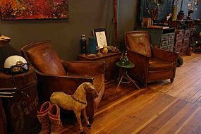 Vintage French Leather Club Chairs Chartres Nailed Pair